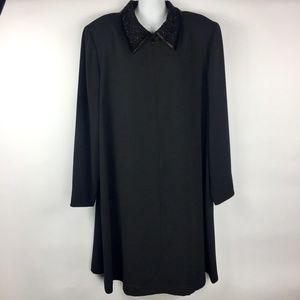 Evan Picone Black Beaded Collar Swing Shift Dress